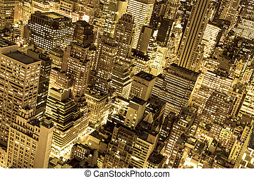 Golden NYC - Golden cityscape of New York City buildings and...