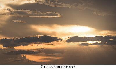 Golden of cloudy sky