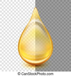 Golden oil droplets. EPS 10 - Oil drop isolated on...