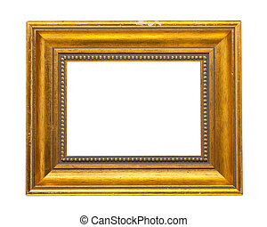 golden old wooden frame isolated