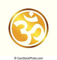Golden OM Circular Symbol Design