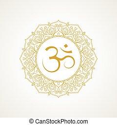 Golden om symbol in vector - Golden om symbol. Gold lace...