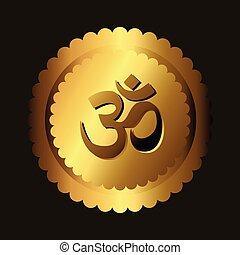 Golden Om Vector Icon