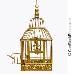 Golden open bird cage