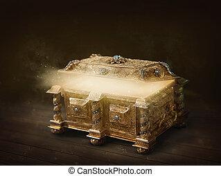 Golden open box