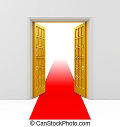 Golden opened doors with red carpet