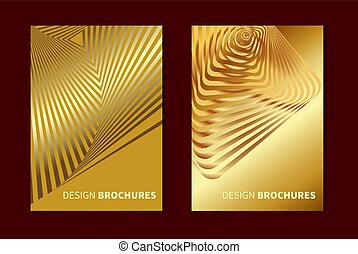Striped golden opt art. Geometric optical illusion with stripes. Abstract background, card. Vector illustration.