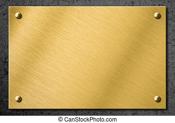 golden or brass metal plate or signboard on wall background