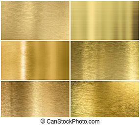 Golden or brass metal texture or background set - six...