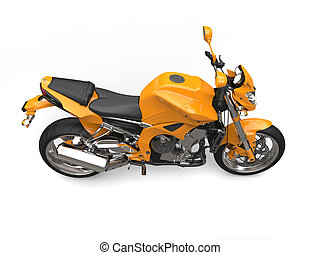 Golden orange cool sports motorcycle - top down side view