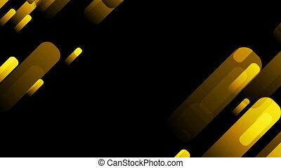 Golden orange moving shapes on black background. Seamless...