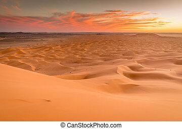 Golden orange sand dunes, Erg Chebbi, Merzouga, Morocco