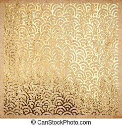 Golden oriental ancient pattern on old paper