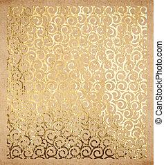 Golden oriental spirals pattern on old paper