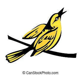 Golden Oriole perched on a branch. Vector flat illustration.