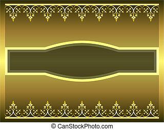 Golden ornamental frame with label illustration