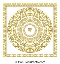 golden, ornamental, Meander circle frame in Gold greek vector border