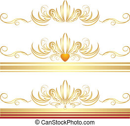 Golden ornaments for three frames