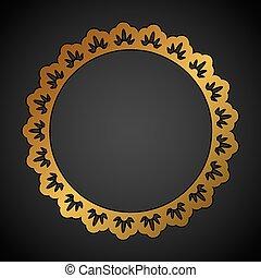 Golden ornate round frame