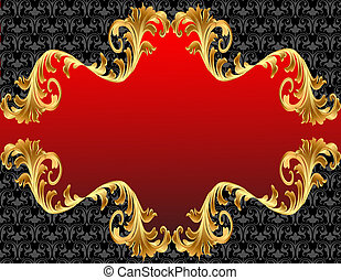 gold(en), ornement, arrière-plan rouge, étiquette