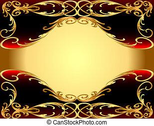 gold(en), ornement, fond, étiquette