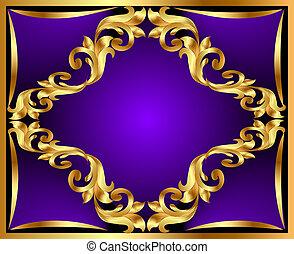 gold(en), ornement, fond, violet