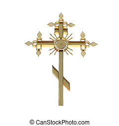 Golden orthodox cross isolated on white background