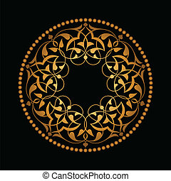 Golden Ottoman patterns over black