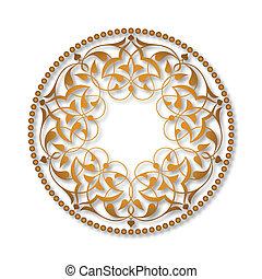 Golden Ottoman patterns over white