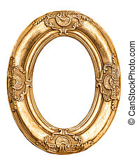 Golden oval frame isolated on white. Baroque style antique objec