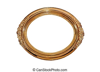 Golden oval picture frame isolated on white.