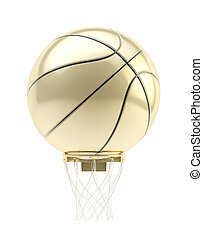 Golden oversized basketball ball over hoop - Big oversized...