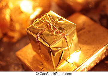 Golden packet - Small sparkling golden packet as Christmas...