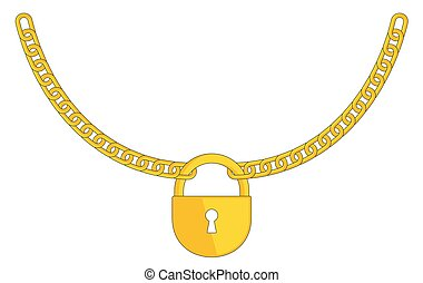 Golden padlock on a chain. Symbol of security and private property.