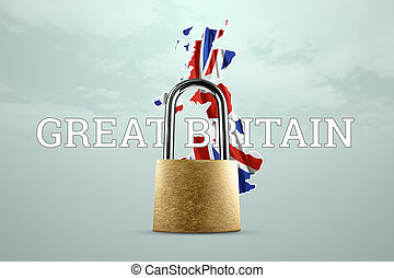 Golden padlock with great briton map and great briton national flag background. Isolation concept, border closure, epidemic. 3D illustration, 3D render.