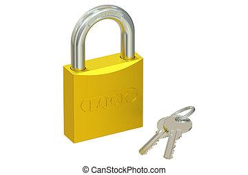 golden padlock with keys, 3D rendering