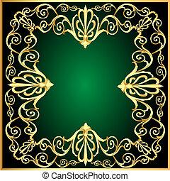 gold(en), padrão, quadro, fundo