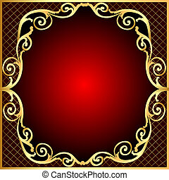 gold(en), padrão, quadro, rede, fundo