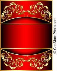 gold(en), padrão, vegetal, fundo, faixa