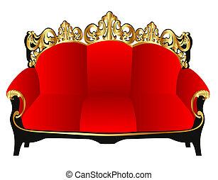 gold(en), padrão, vermelho, sofá, retro