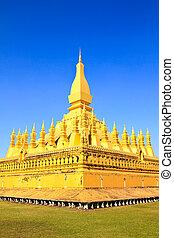 Golden pagada in Wat Pha That Luang, Vientiane, Laos.