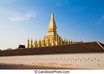 Golden pagada in Wat Pha-That Luang, Vientiane, Laos