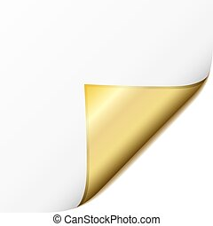 White paper corner with golden page curl