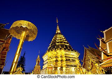 Golden pagoda at Doi suthap, chiangmai - Thailand