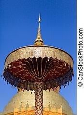Golden Pagoda at Wat Phra That Hariphunchai in Lamphun province,
