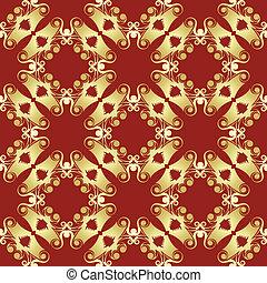 Golden pagoda seamless pattern