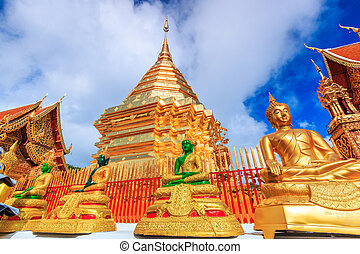 Golden pagoda wat Phra That Doi Suthep chiangmai Thailand,...