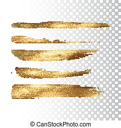 Golden paint brush stroke set