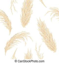 Golden Pampas grass seamless vector pattern. Silver panicle ...