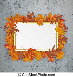 Golden Paper Board Autumn Foliage Concrete